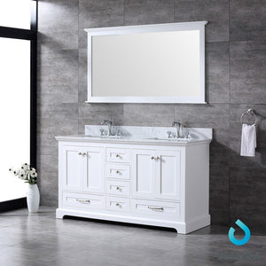 "Lexora Dukes 60"" Double Vanity, White Carrara Marble Top and 58"" Mirror Lexora 60 inch Double Vanity"