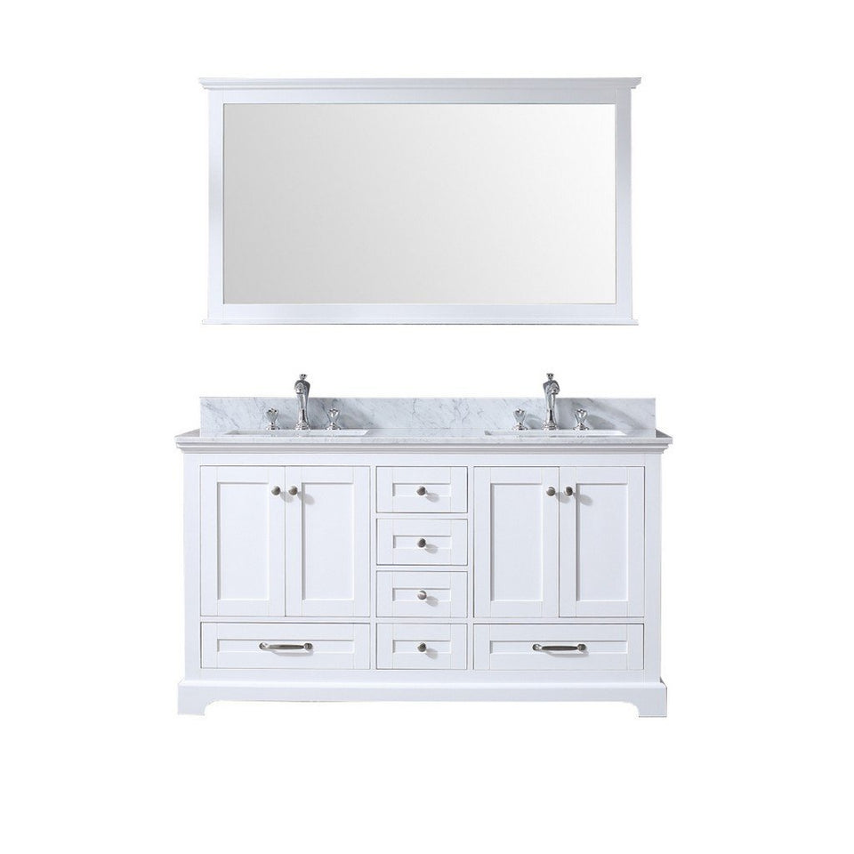 "Lexora Dukes 60"" Double Vanity, White Carrara Marble Top and 58"" Mirror Lexora 60 inch Double Vanity White"