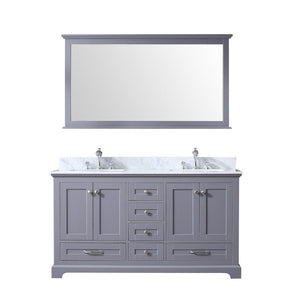 "Lexora Dukes 60"" Double Vanity, White Carrara Marble Top and 58"" Mirror Lexora 60 inch Double Vanity Dark Grey"