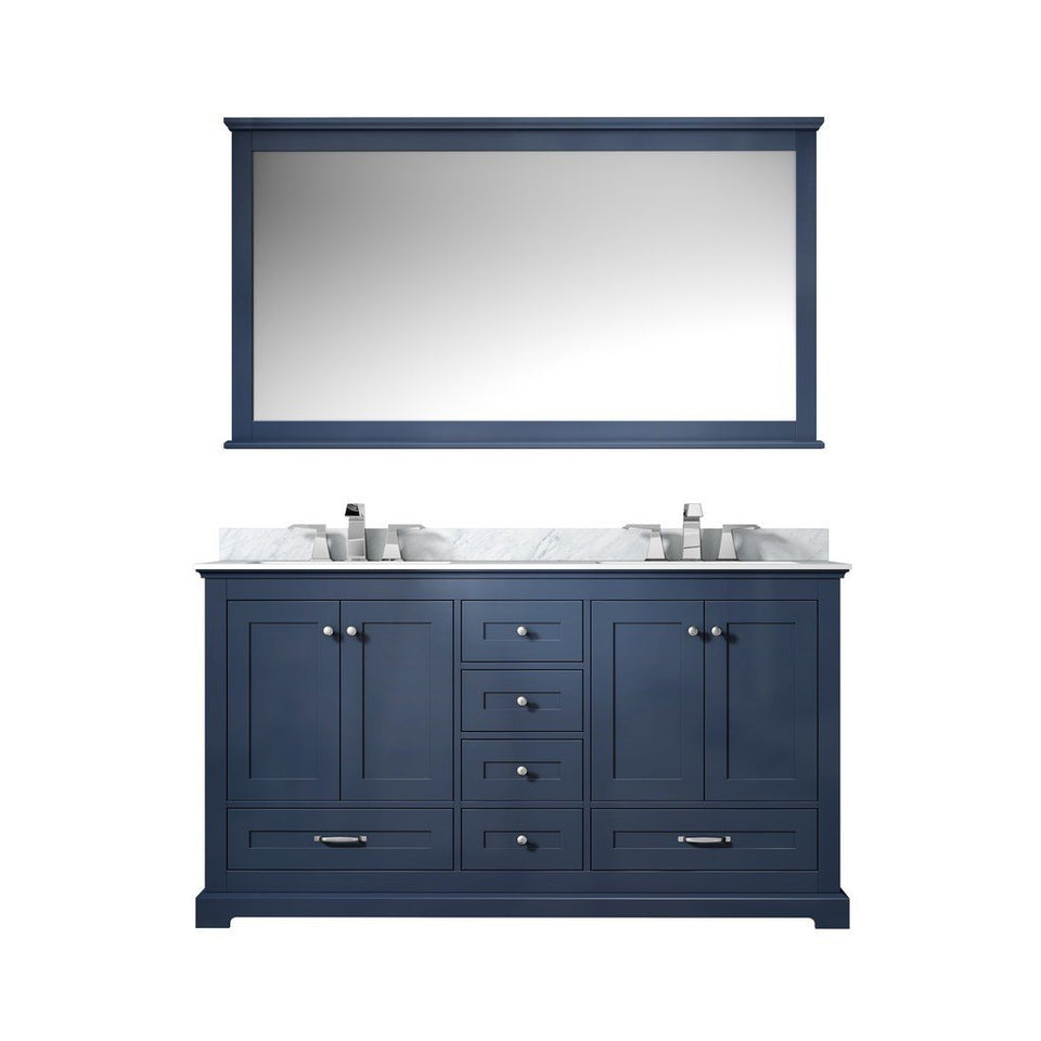 "Lexora Dukes 60"" Double Vanity, White Carrara Marble Top and 58"" Mirror Lexora 60 inch Double Vanity Navy Blue"