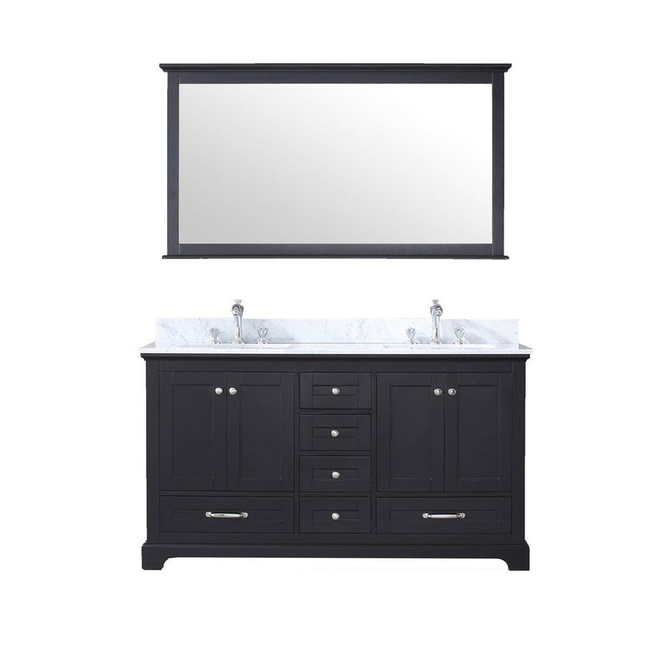 "Lexora Dukes 60"" Double Vanity, White Carrara Marble Top and 58"" Mirror Lexora 60 inch Double Vanity Espresso"