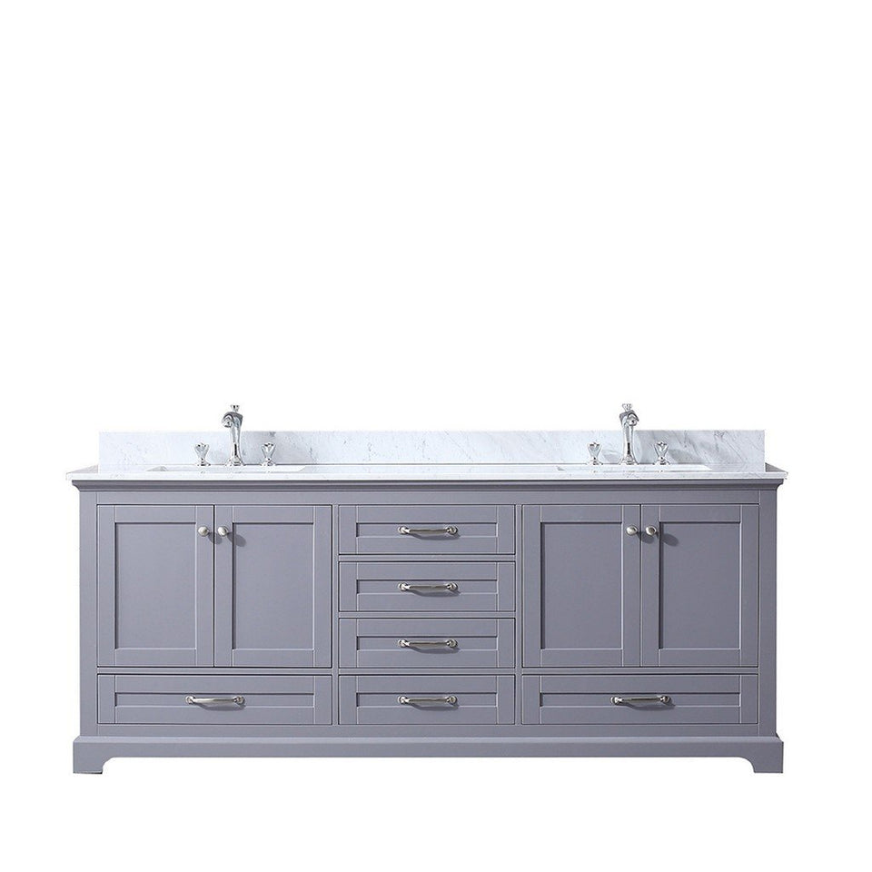 "Lexora Dukes 80"" Double Vanity with White Carrara Marble Top Lexora 72 inch and larger Double Vanity Dark Grey"
