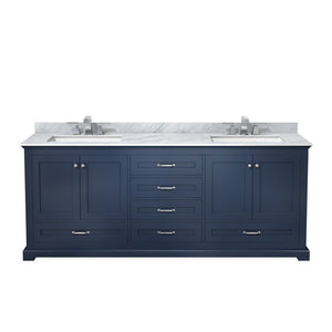 "Lexora Dukes 80"" Double Vanity with White Carrara Marble Top Lexora 72 inch and larger Double Vanity Navy Blue"