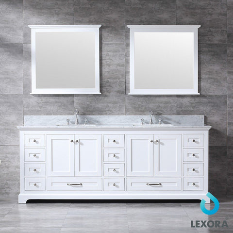 "Lexora Dukes 84"" Double Vanity, White Carrara Marble Top and 34"" Mirrors with Faucets Lexora 72 inch and larger Double Vanity White"