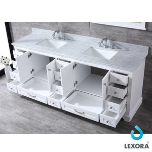 "Lexora Dukes 84"" Double Vanity with White Carrara Marble Top Lexora 72 inch and larger Double Vanity"