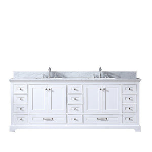 "Lexora Dukes 84"" Double Vanity with White Carrara Marble Top Lexora 72 inch and larger Double Vanity White"