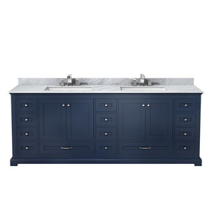 "Lexora Dukes 84"" Double Vanity with White Carrara Marble Top Lexora 72 inch and larger Double Vanity Navy Blue"