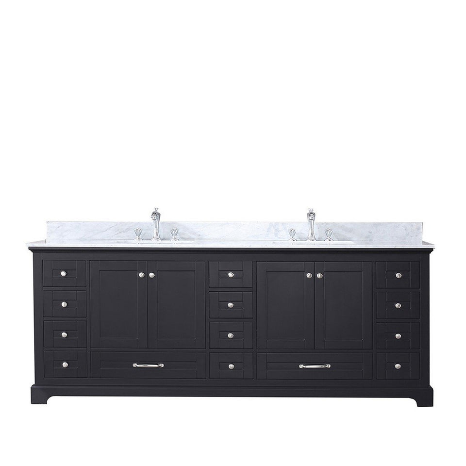 "Lexora Dukes 84"" Double Vanity with White Carrara Marble Top Lexora 72 inch and larger Double Vanity Espresso"