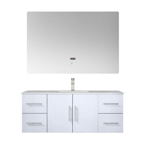 "Lexora Geneva 48"" Single Vanity, White Carrara Marble Top and 48"" LED Mirror with Faucet Lexora 48 inch Single Vanity Glossy White"