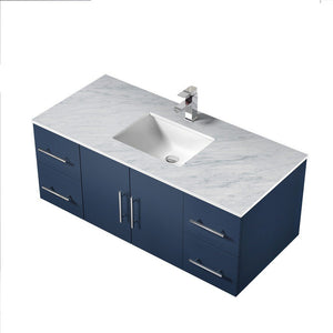"Lexora Geneva 48"" Single Vanity with White Carrara Marble Top Lexora 48 inch Single Vanity"