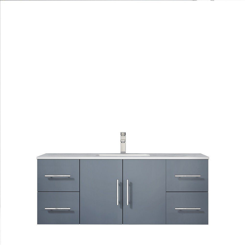 "Lexora Geneva 48"" Single Vanity with White Carrara Marble Top Lexora 48 inch Single Vanity Dark Grey"
