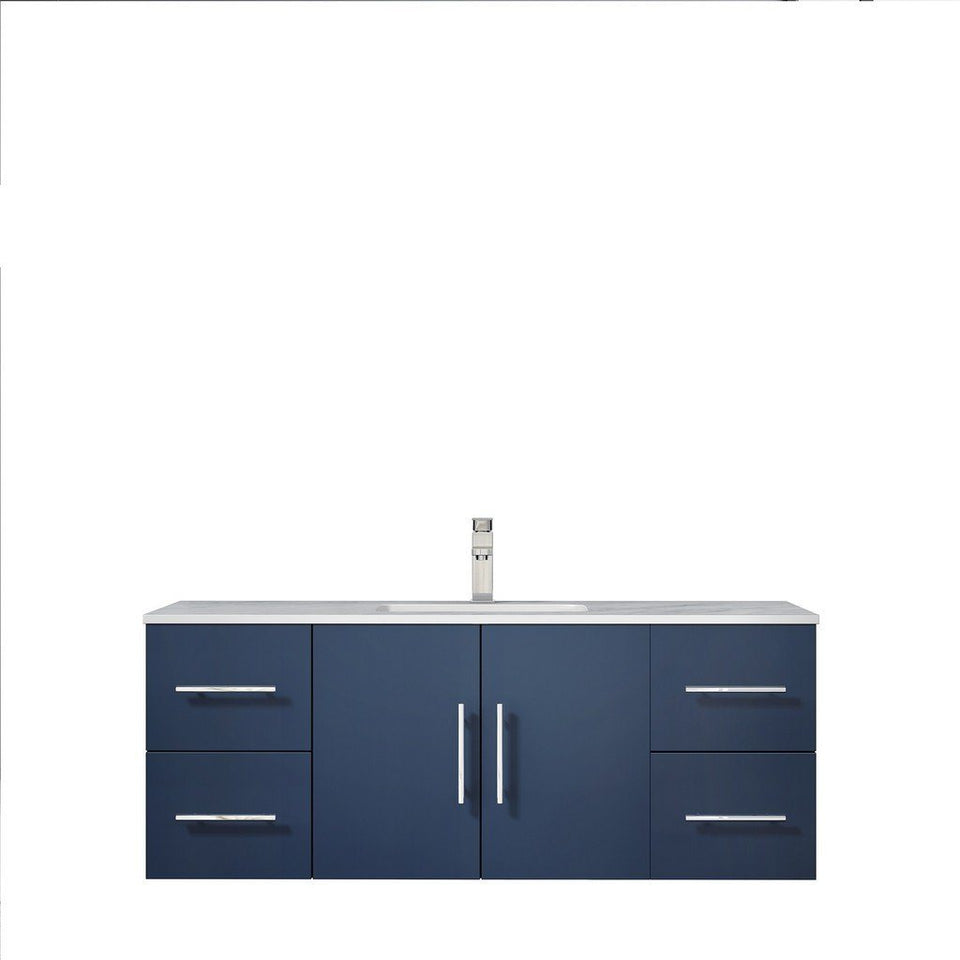 "Lexora Geneva 48"" Single Vanity with White Carrara Marble Top Lexora 48 inch Single Vanity Navy Blue"