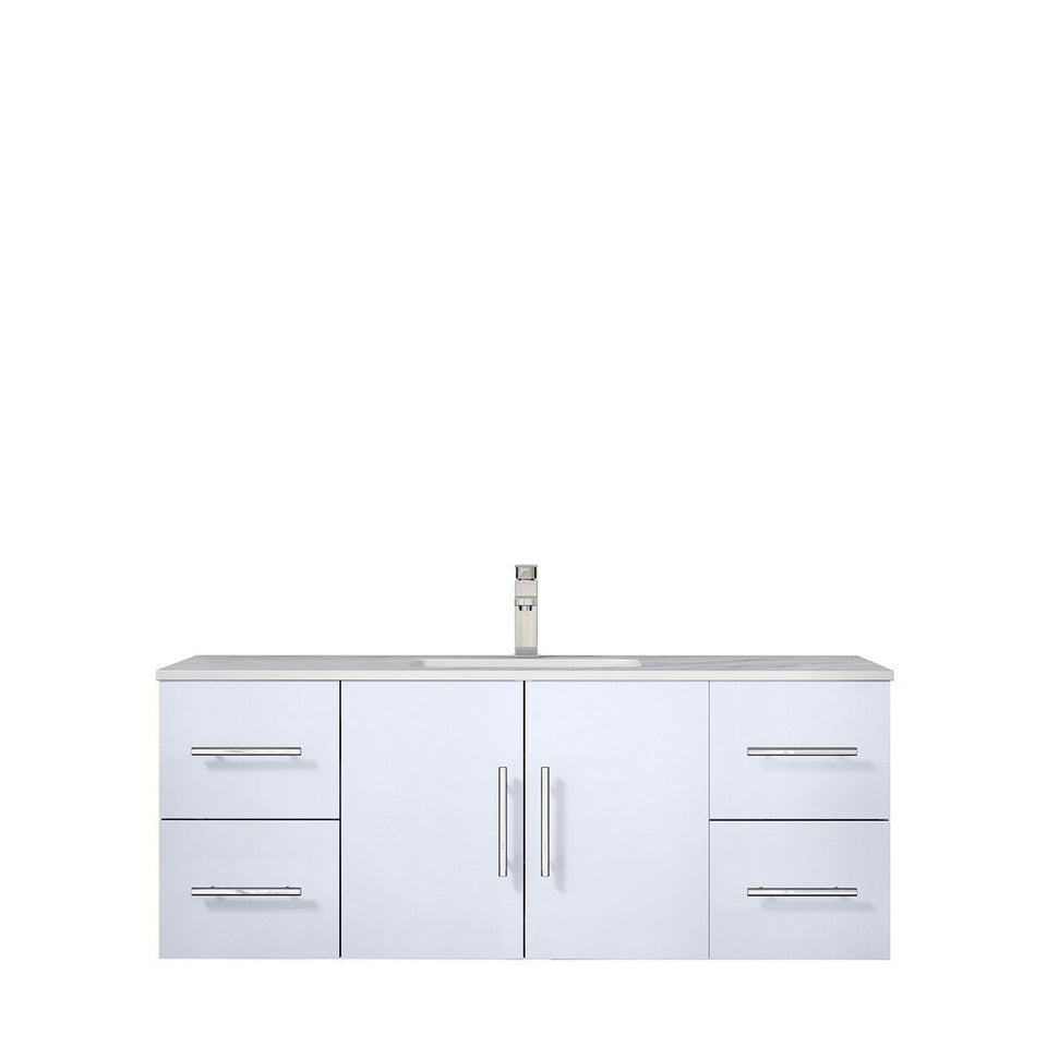 "Lexora Geneva 48"" Single Vanity with White Carrara Marble Top Lexora 48 inch Single Vanity Glossy White"