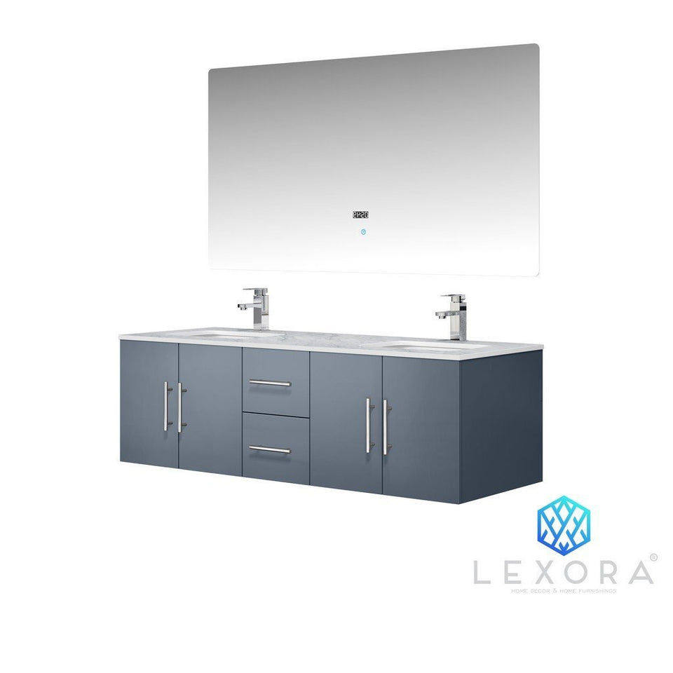 "Lexora Geneva 60"" Double Vanity, White Carrara Marble Top and 60"" LED Mirror with Faucets Lexora 60 inch Double Vanity"
