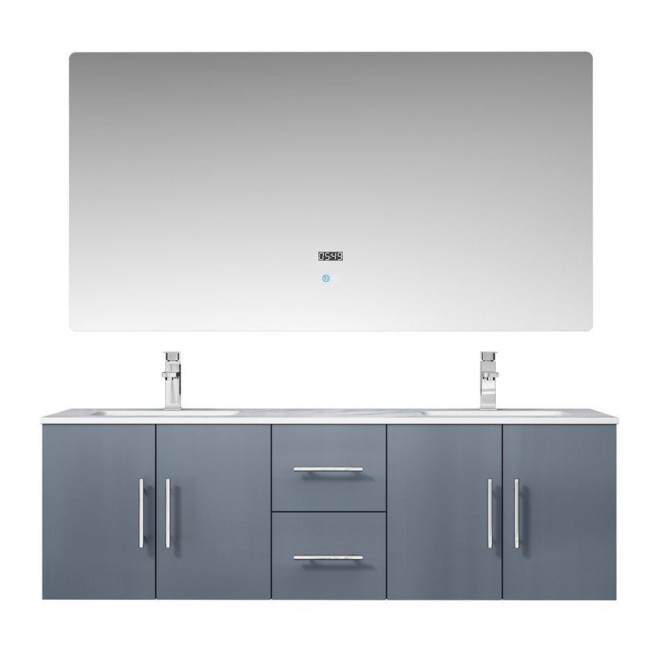 "Lexora Geneva 60"" Double Vanity, White Carrara Marble Top and 60"" LED Mirror with Faucets Lexora 60 inch Double Vanity Dark Grey"