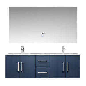 "Lexora Geneva 60"" Double Vanity, White Carrara Marble Top and 60"" LED Mirror with Faucets Lexora 60 inch Double Vanity Navy Blue"