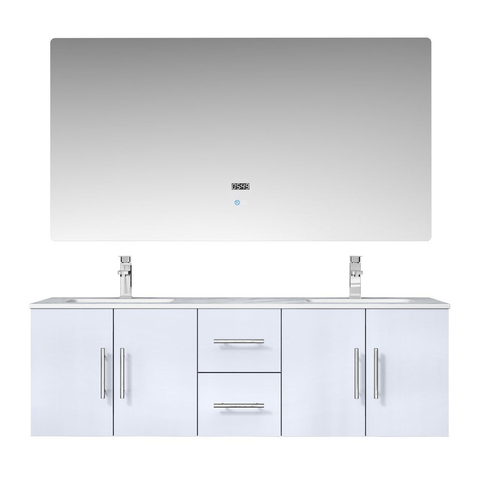 "Lexora Geneva 60"" Double Vanity, White Carrara Marble Top and 60"" LED Mirror with Faucets Lexora 60 inch Double Vanity Glossy White"
