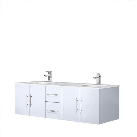 "Lexora Geneva 60"" Double Vanity with White Carrara Marble Top Lexora 60 inch Double Vanity Glossy White"