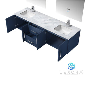 "Lexora Geneva 72"" Double Vanity, White Carrara Marble Top and 30"" LED Mirrors with Faucets Lexora 72 inch and larger Double Vanity"
