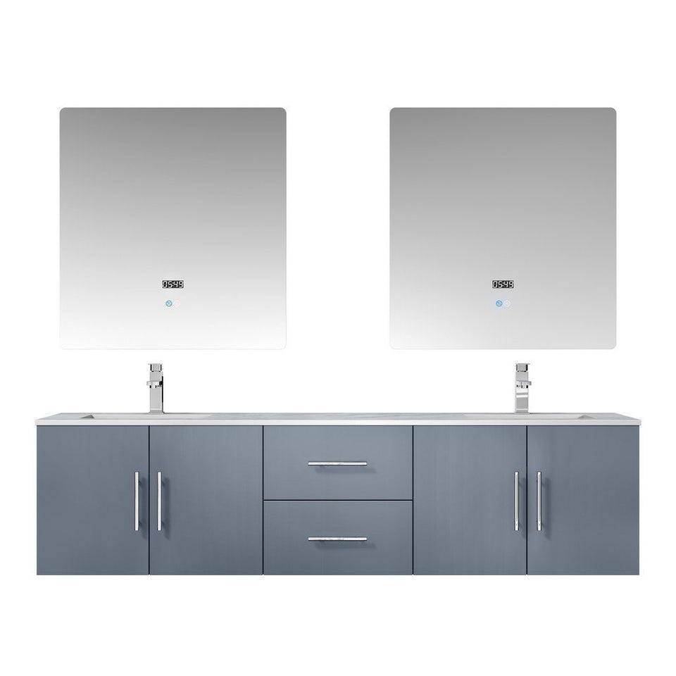 "Lexora Geneva 72"" Double Vanity, White Carrara Marble Top and 30"" LED Mirrors with Faucets Lexora 72 inch and larger Double Vanity Dark Grey"