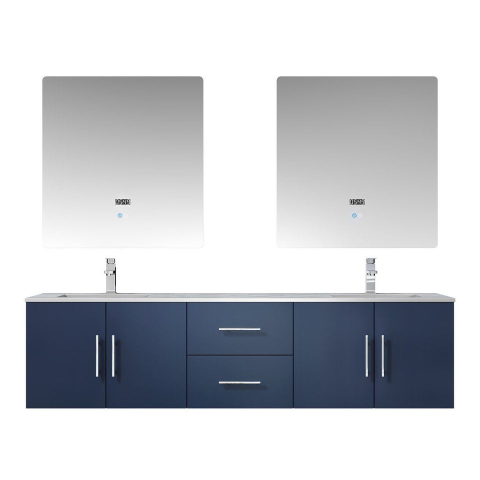 "Lexora Geneva 72"" Double Vanity, White Carrara Marble Top and 30"" LED Mirrors with Faucets Lexora 72 inch and larger Double Vanity Navy Blue"