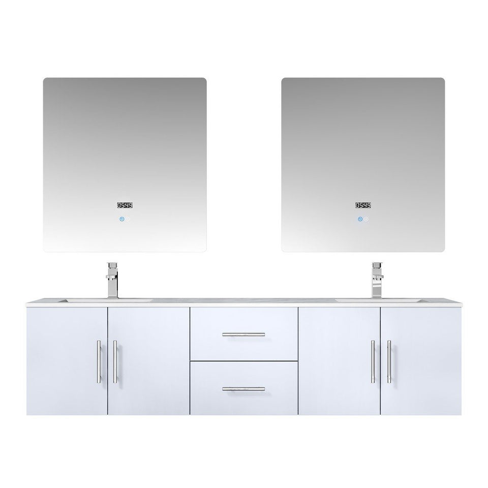 "Lexora Geneva 72"" Double Vanity, White Carrara Marble Top and 30"" LED Mirrors with Faucets Lexora 72 inch and larger Double Vanity Glossy White"