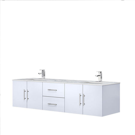 "Lexora Geneva 72"" Double Vanity with White Carrara Marble Top Lexora 72 inch and larger Double Vanity"