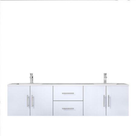 "Lexora Geneva 72"" Double Vanity with White Carrara Marble Top Lexora 72 inch and larger Double Vanity Glossy White"