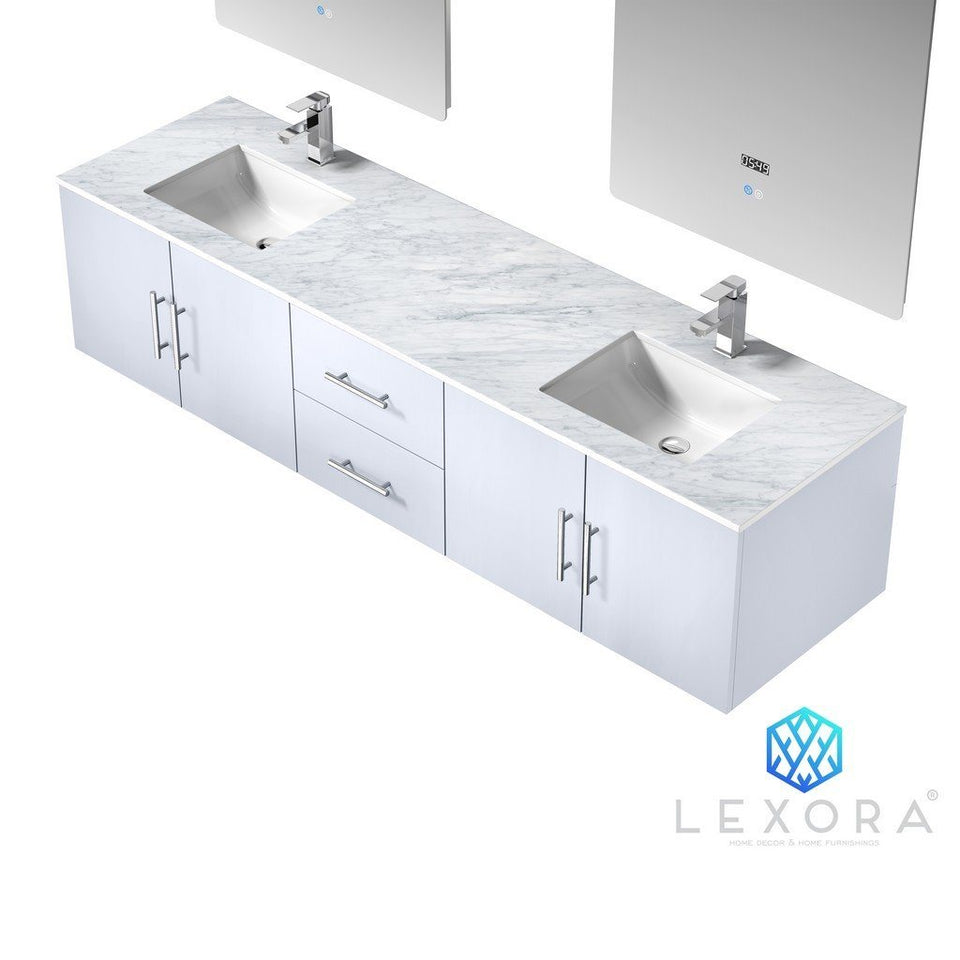 "Lexora Geneva 80"" Double Vanity, White Carrara Marble Top and 30"" LED Mirrors Lexora 72 inch and larger Double Vanity"
