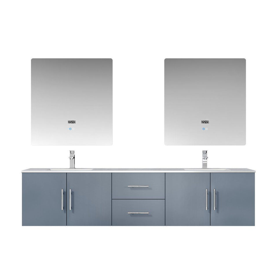 "Lexora Geneva 80"" Double Vanity, White Carrara Marble Top and 30"" LED Mirrors Lexora 72 inch and larger Double Vanity Dark Grey"
