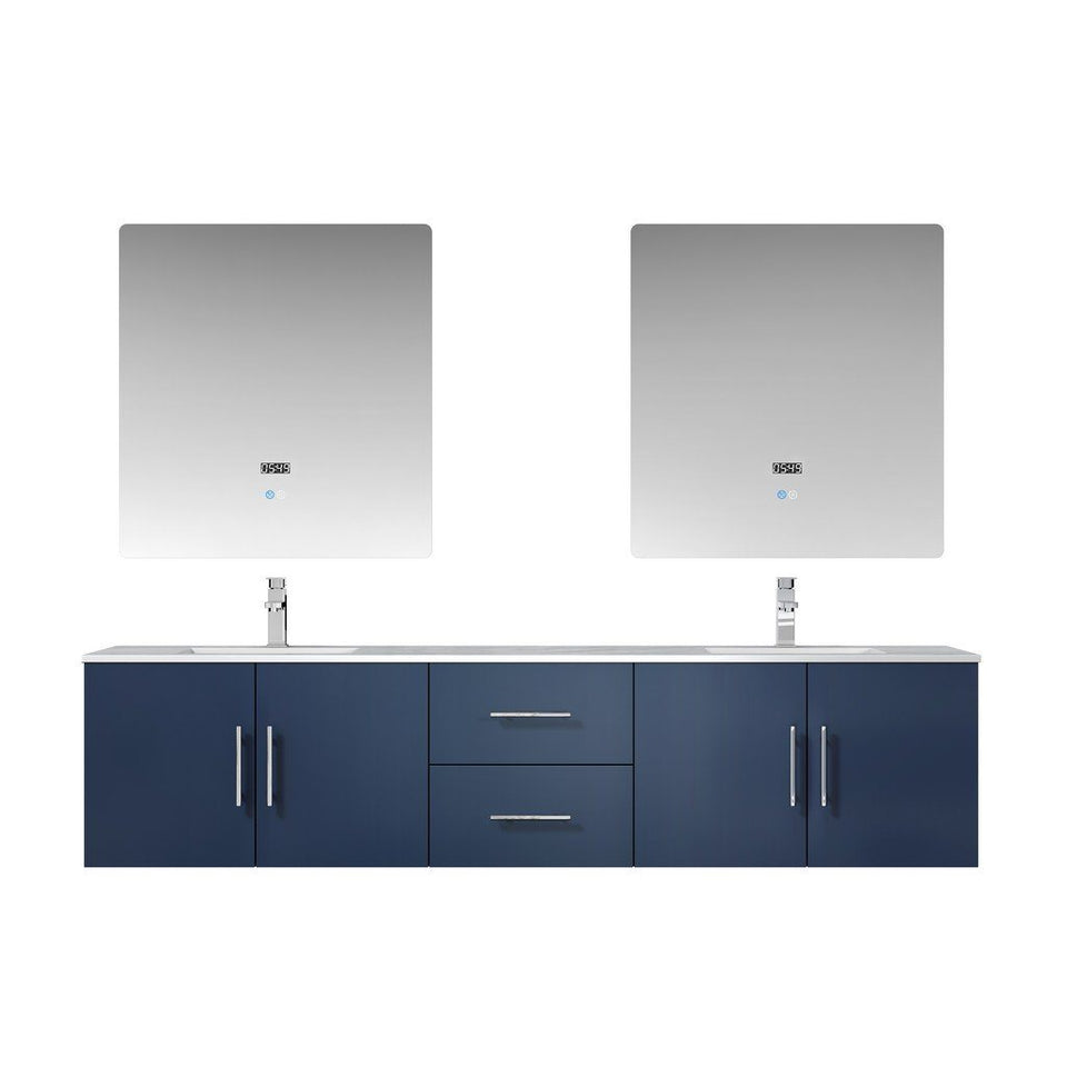 "Lexora Geneva 80"" Double Vanity, White Carrara Marble Top and 30"" LED Mirrors Lexora 72 inch and larger Double Vanity Navy Blue"