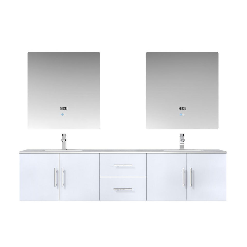"Lexora Geneva 80"" Double Vanity, White Carrara Marble Top and 30"" LED Mirrors Lexora 72 inch and larger Double Vanity Glossy White"