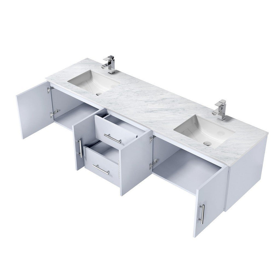 "Lexora Geneva 80"" Double Vanity with White Carrara Marble Top Lexora 72 inch and larger Double Vanity"