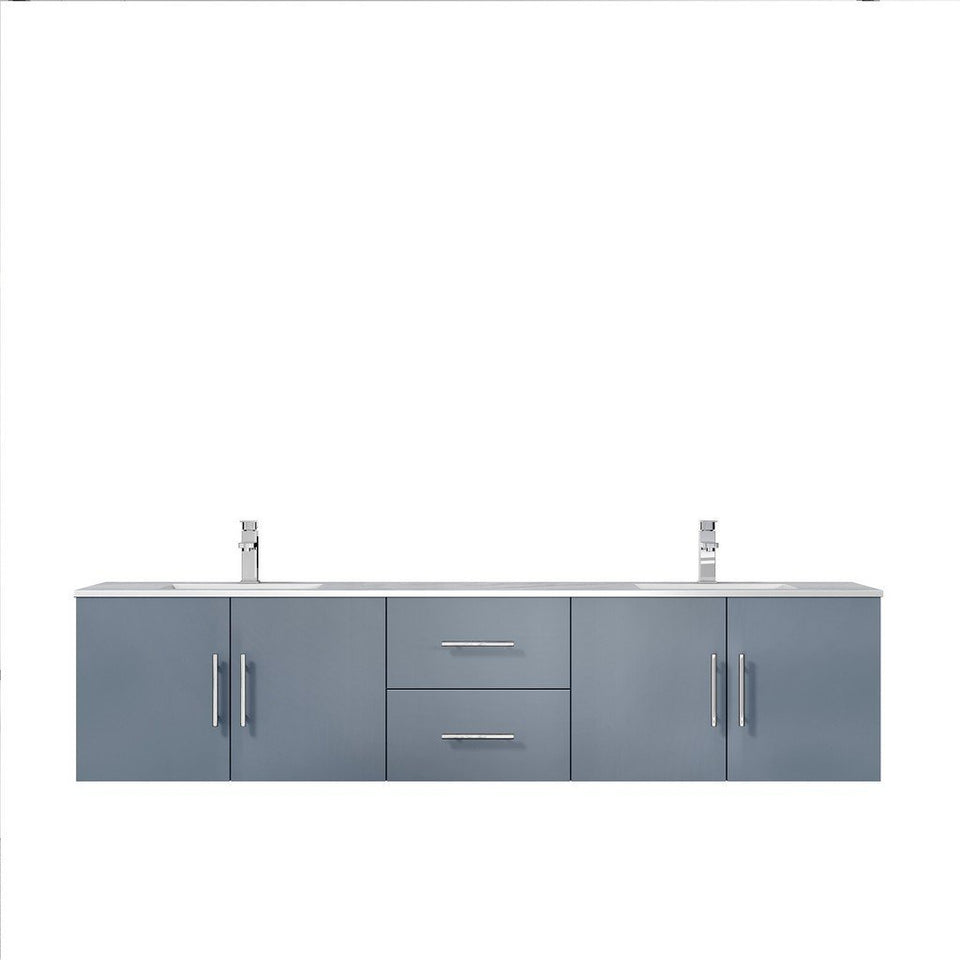 "Lexora Geneva 80"" Double Vanity with White Carrara Marble Top Lexora 72 inch and larger Double Vanity Dark Grey"