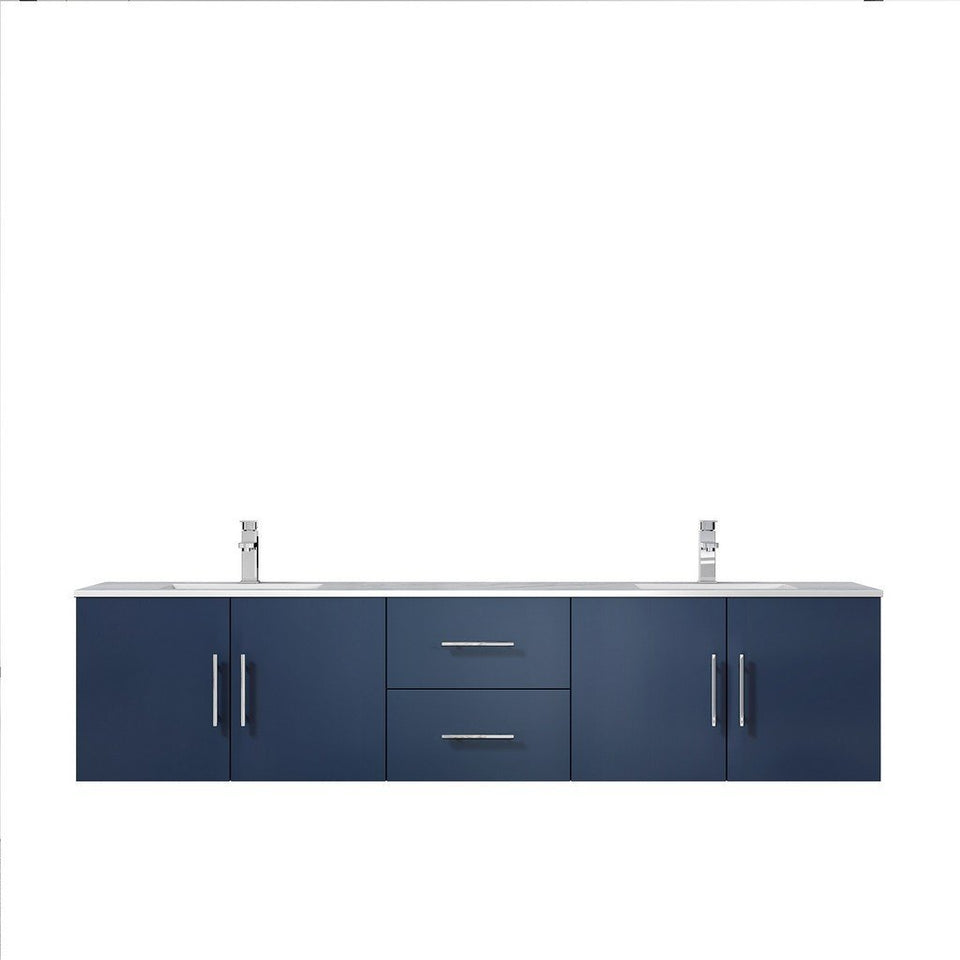 "Lexora Geneva 80"" Double Vanity with White Carrara Marble Top Lexora 72 inch and larger Double Vanity Navy Blue"
