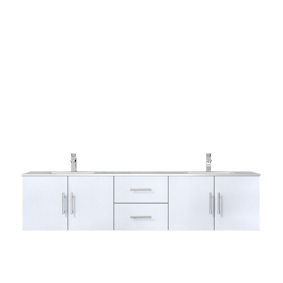 "Lexora Geneva 80"" Double Vanity with White Carrara Marble Top Lexora 72 inch and larger Double Vanity Glossy White"