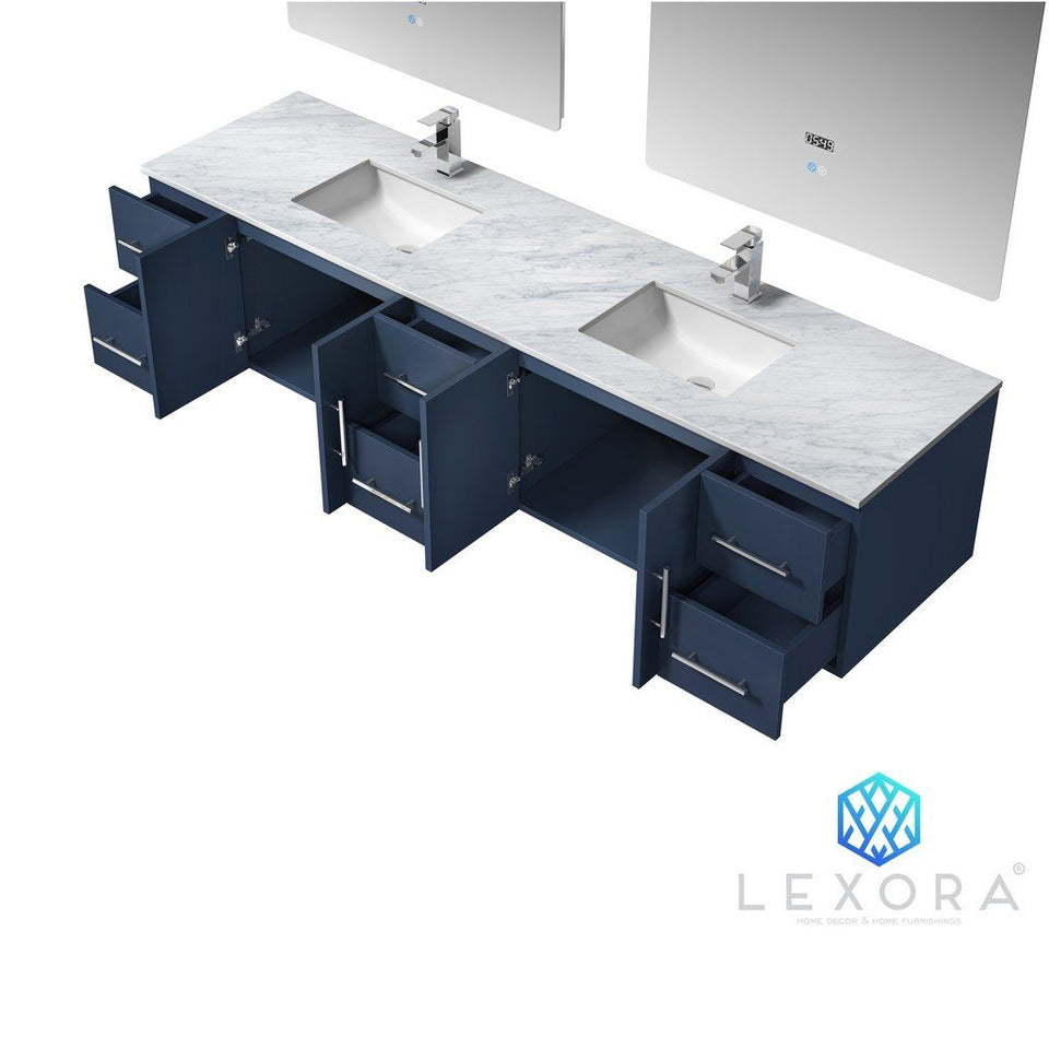 "Lexora Geneva 84"" Double Vanity, White Carrara Marble Top and 36"" LED Mirrors with Faucets Lexora 72 inch and larger Double Vanity"