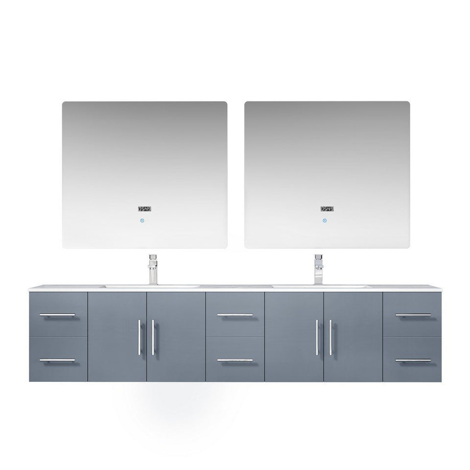 "Lexora Geneva 84"" Double Vanity, White Carrara Marble Top and 36"" LED Mirrors with Faucets Lexora 72 inch and larger Double Vanity Dark Grey"