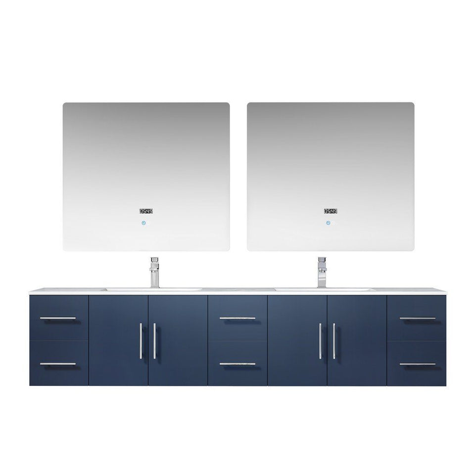 "Lexora Geneva 84"" Double Vanity, White Carrara Marble Top and 36"" LED Mirrors with Faucets Lexora 72 inch and larger Double Vanity Navy Blue"