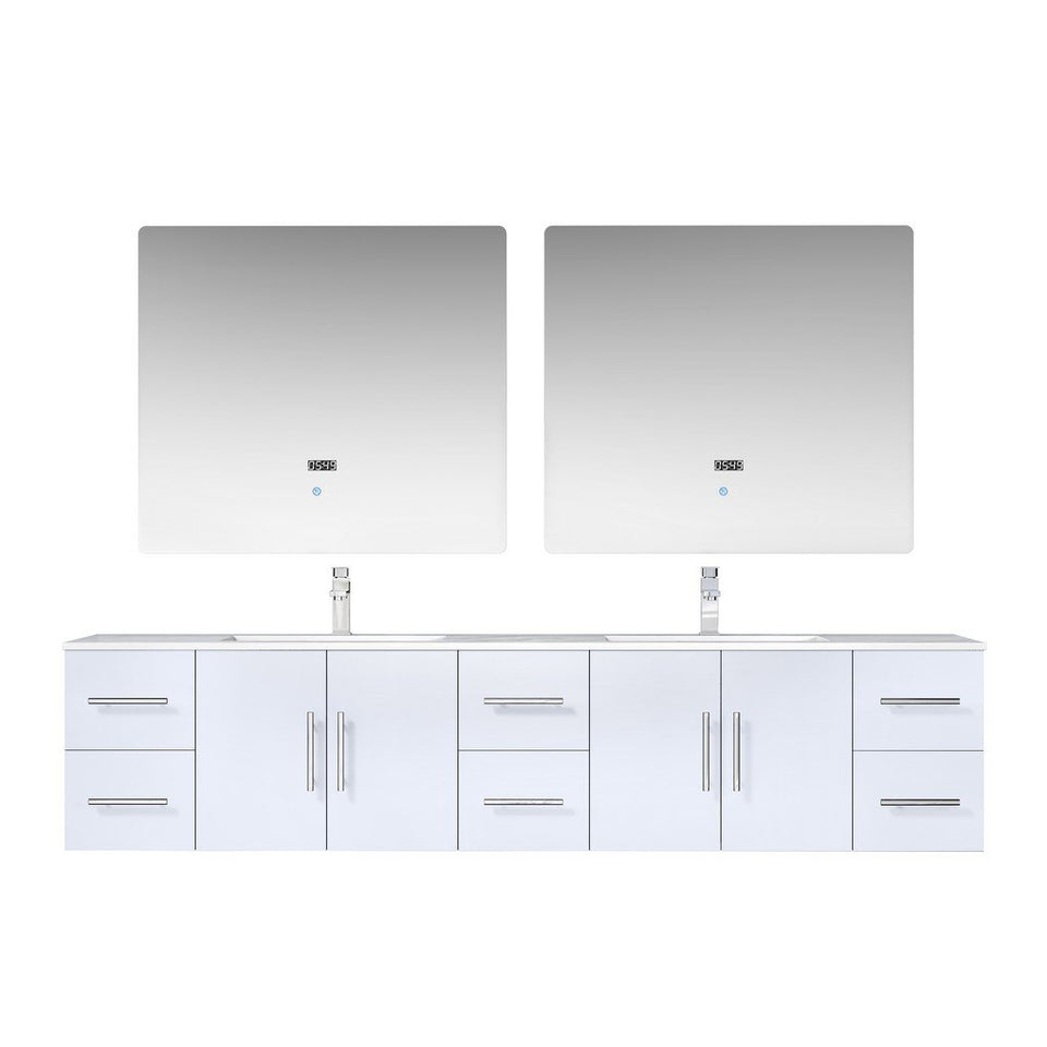 "Lexora Geneva 84"" Double Vanity, White Carrara Marble Top and 36"" LED Mirrors with Faucets Lexora 72 inch and larger Double Vanity Glossy White"