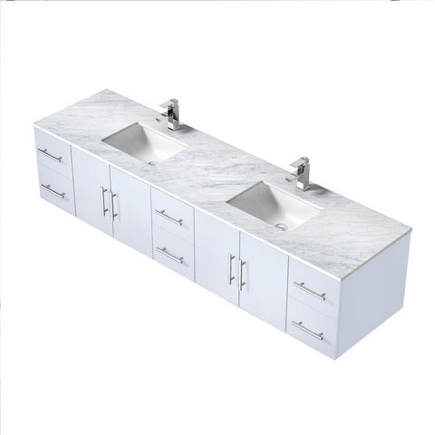 "Lexora Geneva 84"" Double Vanity with White Carrara Marble Top Lexora 72 inch and larger Double Vanity Glossy White"