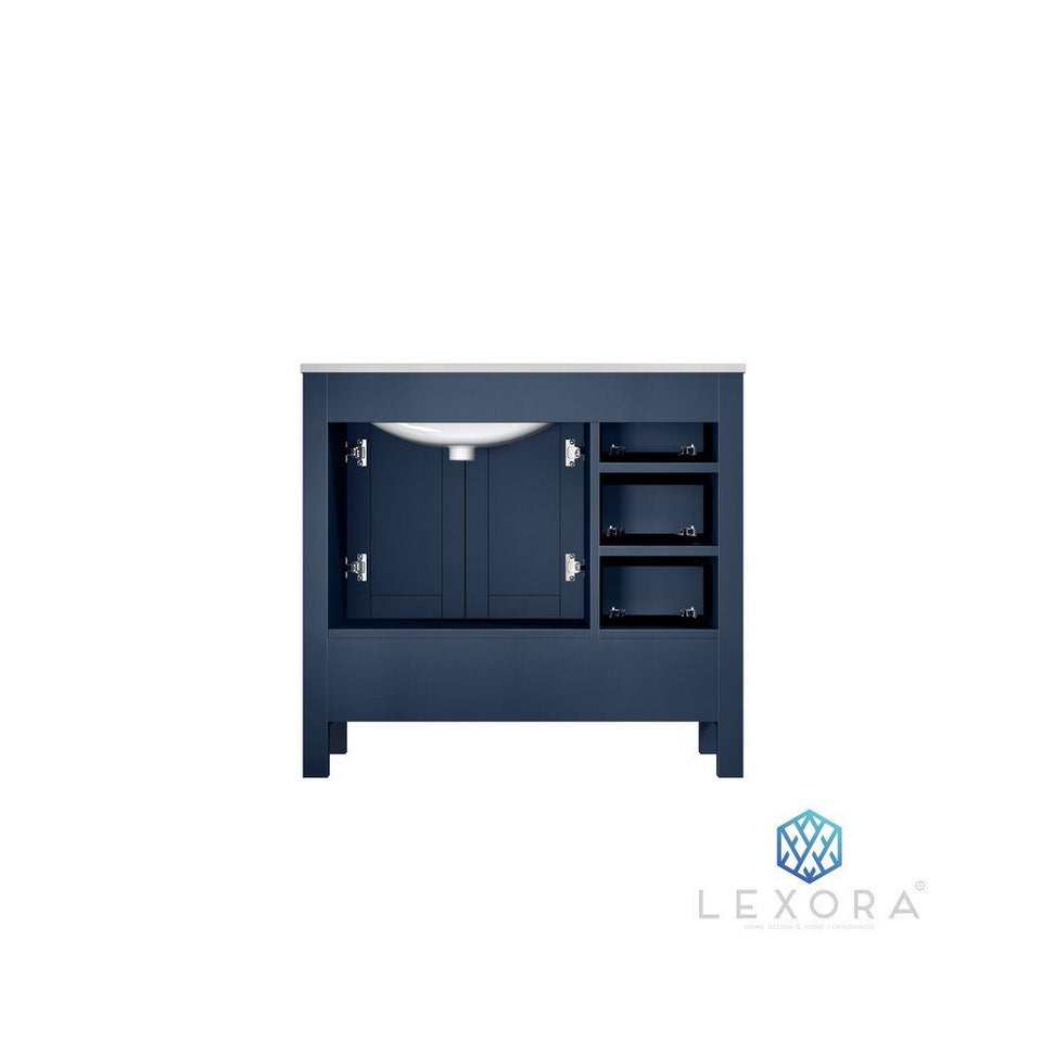"Lexora Jacques 36"" Single Vanity with White Carrara Marble Top - Right Version Lexora 36 inch Single Vanity"