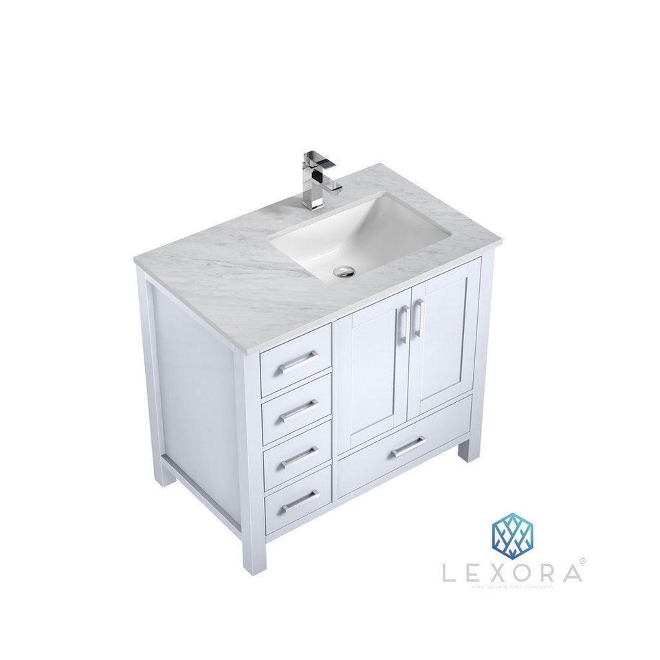 "Lexora Jacques 36"" Single Vanity with White Carrara Marble Top - Right Version Lexora 36 inch Single Vanity White"