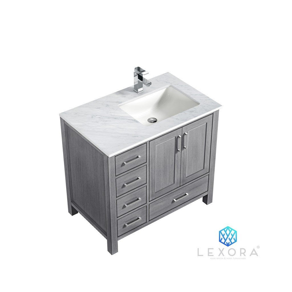 "Lexora Jacques 36"" Single Vanity with White Carrara Marble Top - Right Version Lexora 36 inch Single Vanity Distressed Grey"