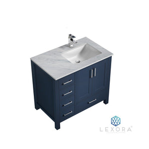 "Lexora Jacques 36"" Single Vanity with White Carrara Marble Top - Right Version Lexora 36 inch Single Vanity Navy Blue"
