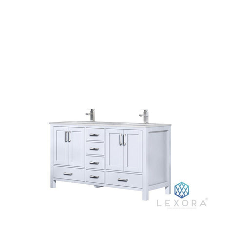 "Lexora Jacques 60"" Double Vanity with White Carrara Marble Top Lexora 60 inch Double Vanity White"