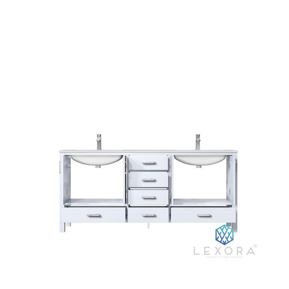"Lexora Jacques 72"" Double Vanity, White Carrara Marble Top and 70"" Mirror Lexora 72 inch and larger Double Vanity"
