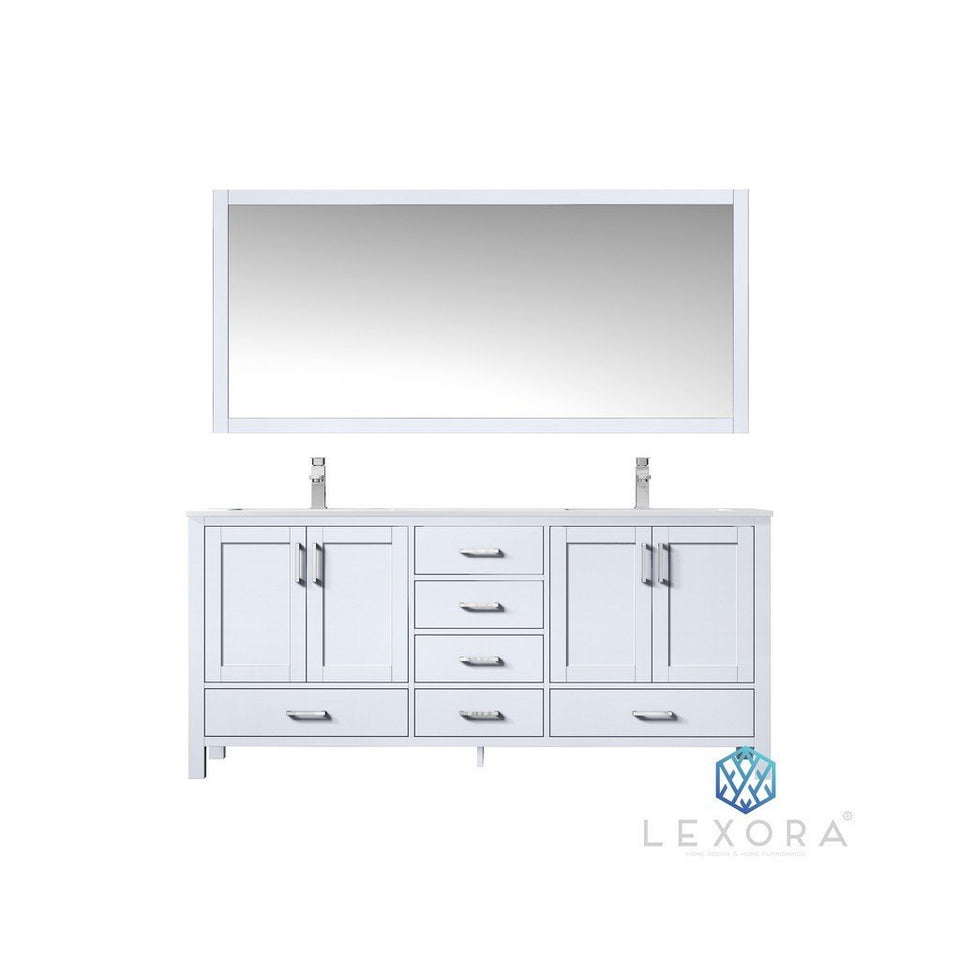 "Lexora Jacques 72"" Double Vanity, White Carrara Marble Top and 70"" Mirror Lexora 72 inch and larger Double Vanity White"