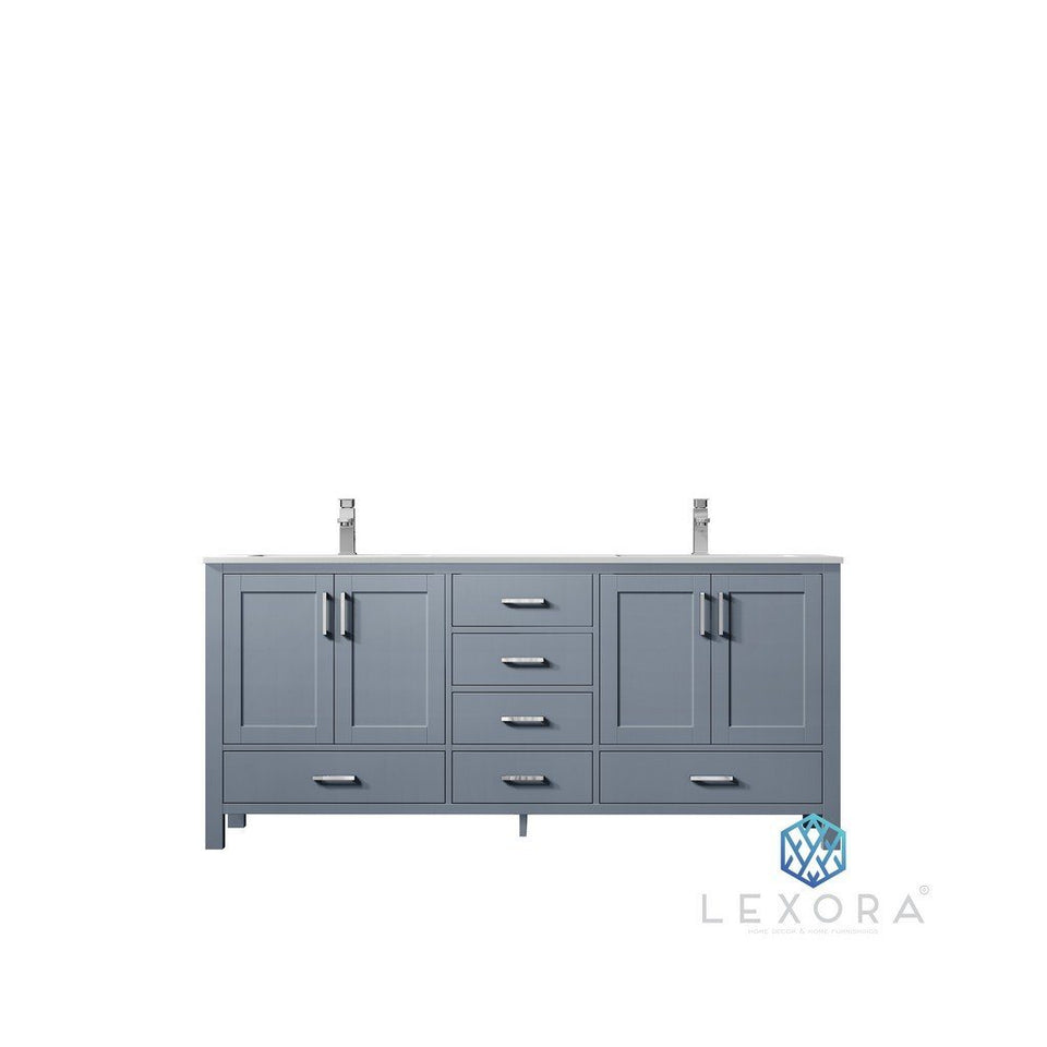 "Lexora Jacques 72"" Double Vanity, White Carrara Marble Top and 70"" Mirror Lexora 72 inch and larger Double Vanity Dark Grey"