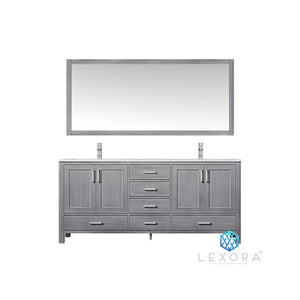 "Lexora Jacques 72"" Double Vanity, White Carrara Marble Top and 70"" Mirror Lexora 72 inch and larger Double Vanity Distressed Grey"